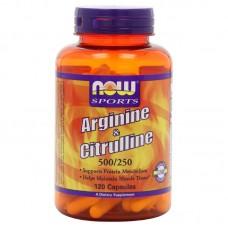Arginine 500 mg / Citrulline 250 mg  от NOW (120 кап)